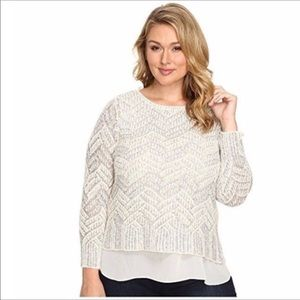 LUCKY BRAND lined chevron sweater